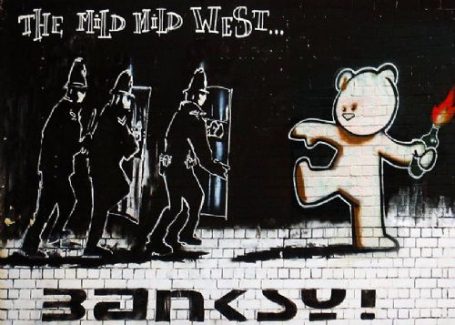 BANKSY - MILD MILD WEST canvas print - self adhesive poster - photo print
